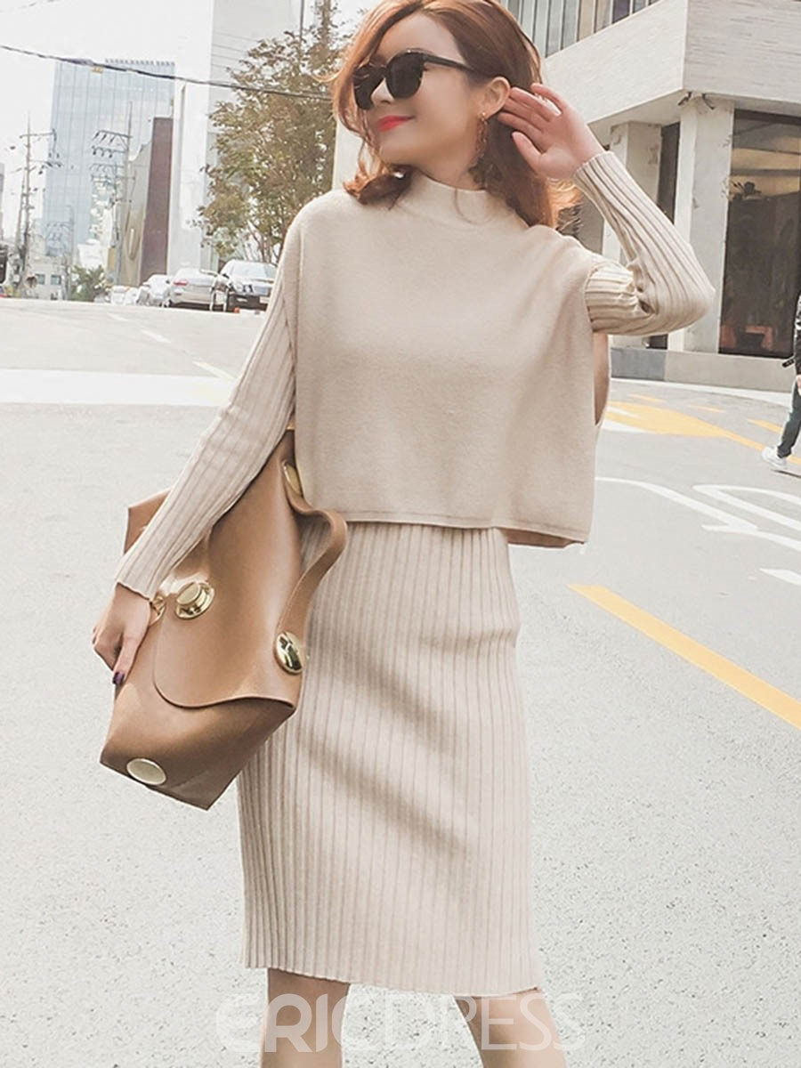 Ericdress Bodycon Dress And Vest Womens Knit Suit