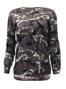 Ericdress Loose Asymmetric Camouflage T-shirt
