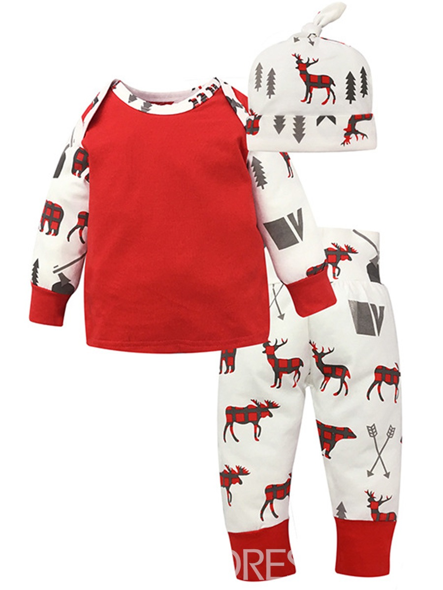 Ericdress Christmas Deer Print Color Block Cotton 3-pcs Unisex Baby Outfits
