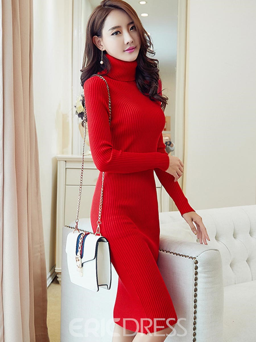 0840dab4b3 Ericdress High Neck Long Sleeves Plain Sweater Dress 13017232 ...