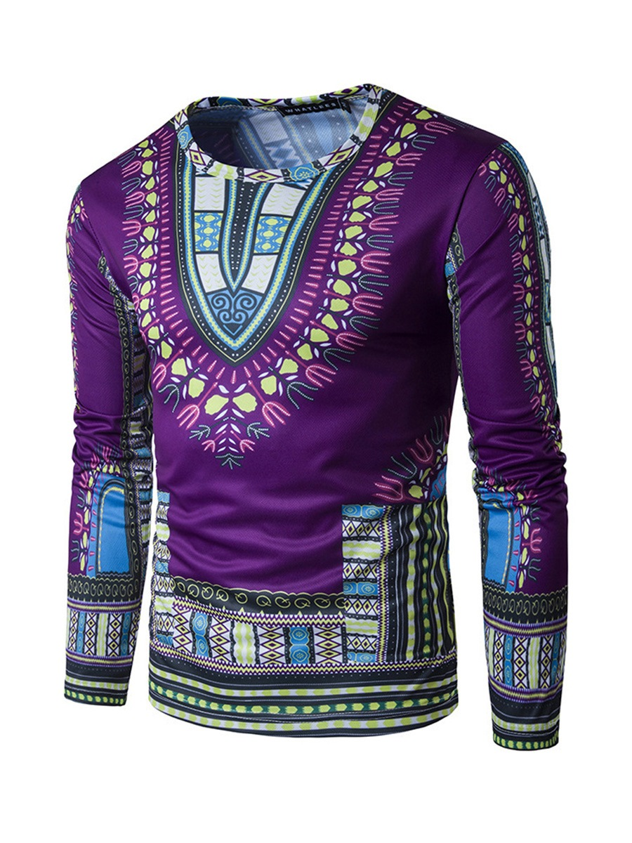 Ericdress Dashiki Ethnic Style African Print Slim Men's T-Shirt