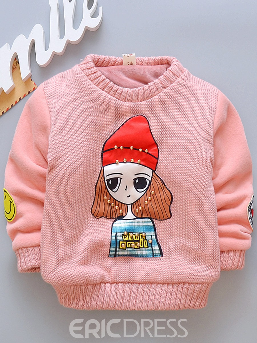 Ericdress Cartoon Print Round Neck Pullover Thick Baby Girl's Sweater