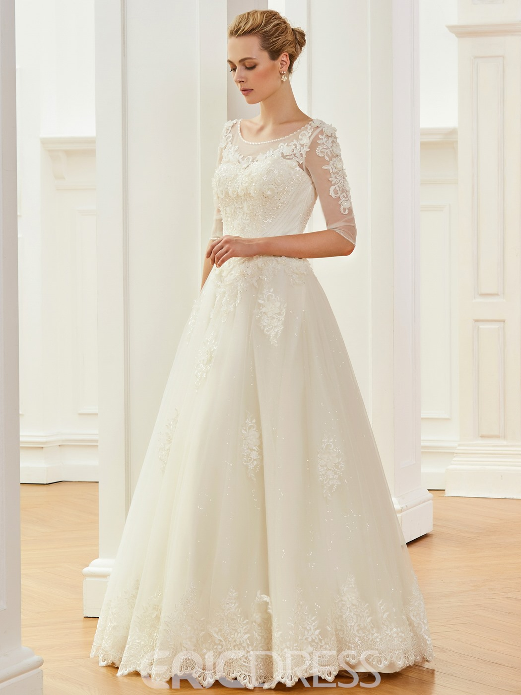 Ericdress Half Sleeves 3D Floral Beading Wedding Dress
