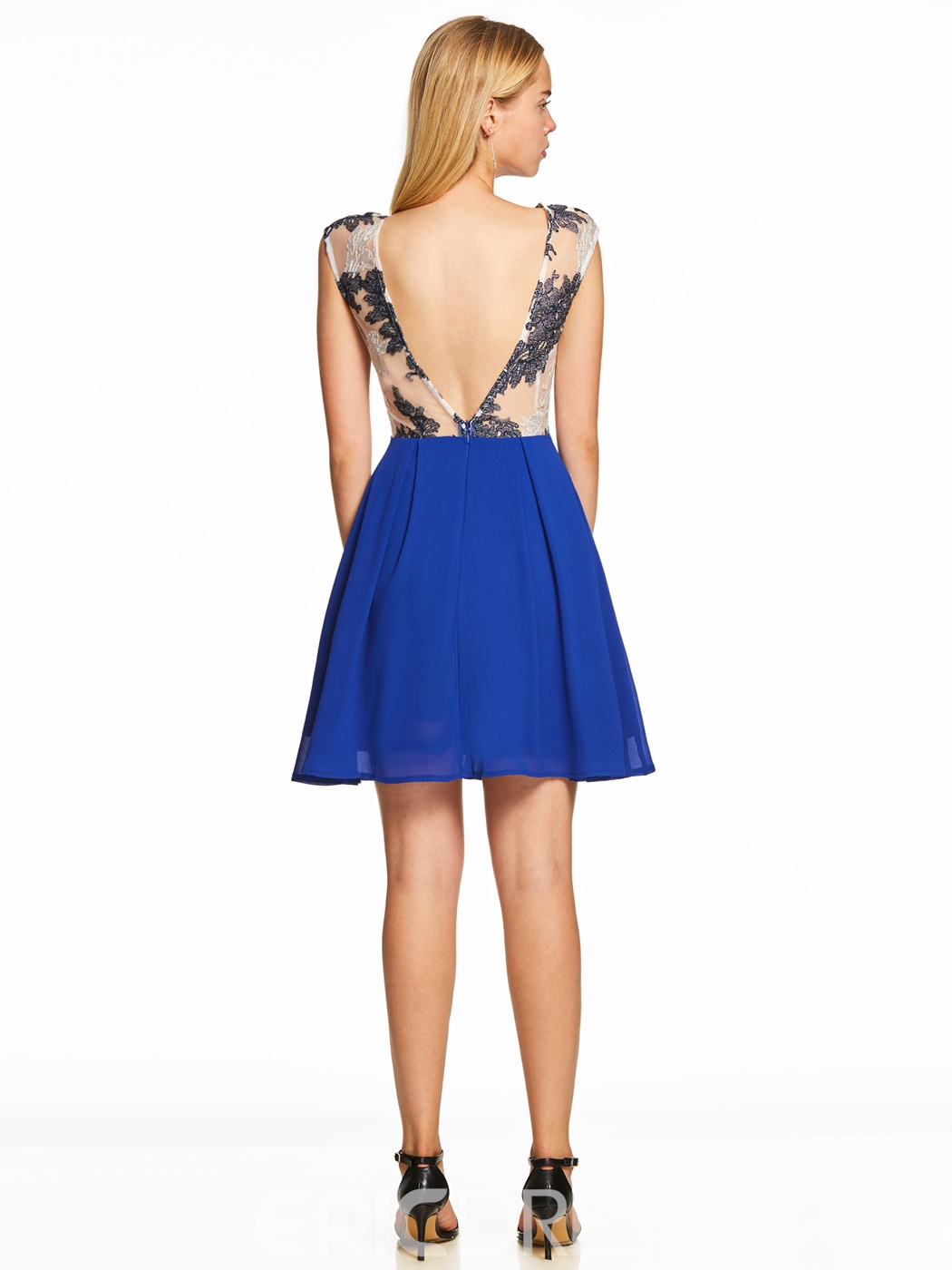 Ericdress Scoop Neck Pearl Backless A Line Cocktail Dress