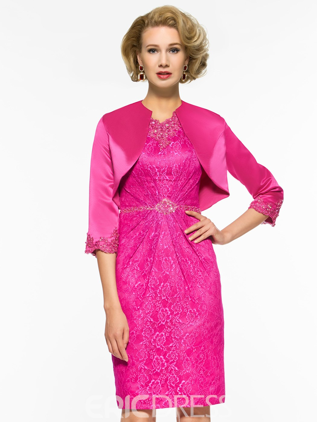 Ericdress Sheath Knee Length Lace Mother of The Bride Dress