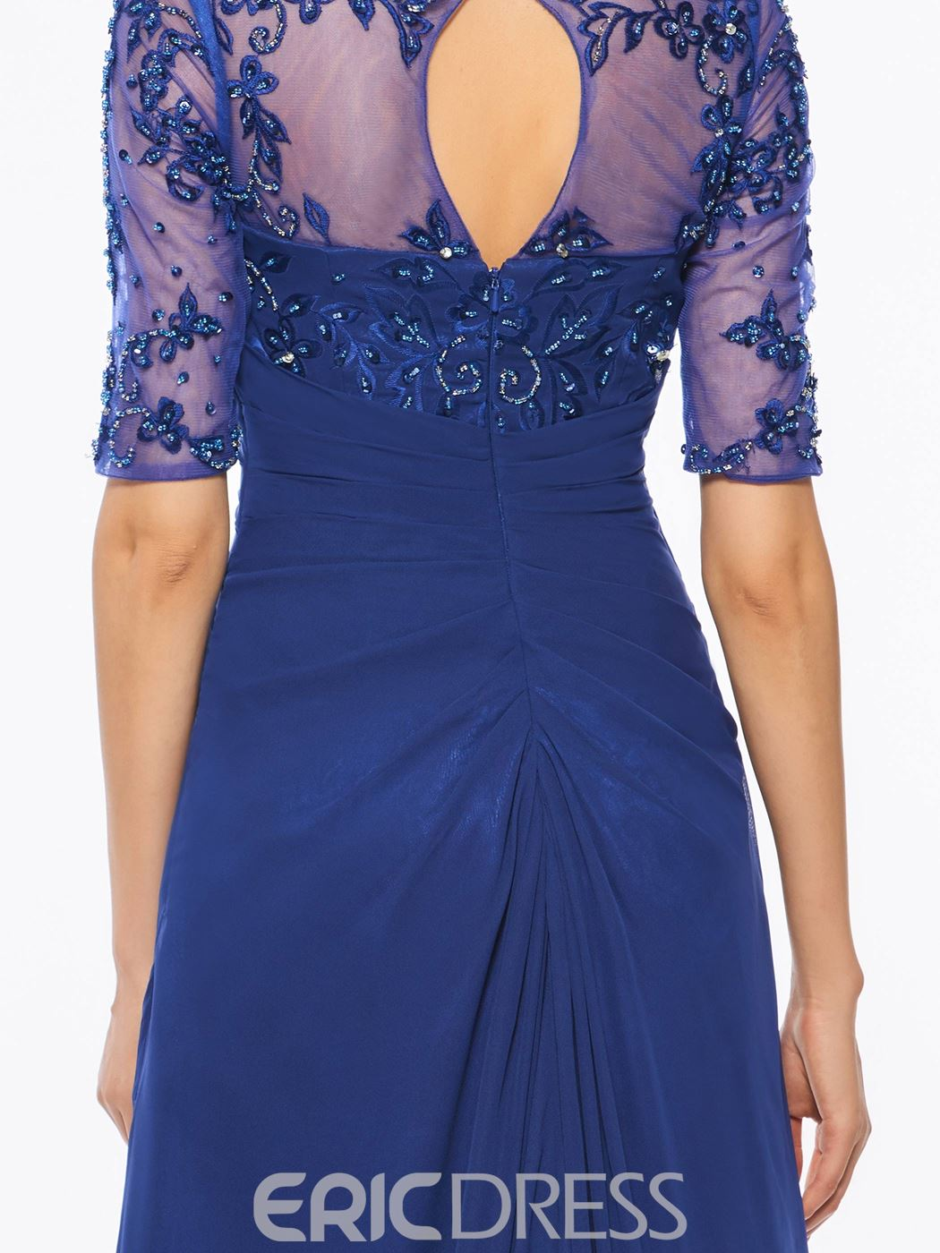 Ericdress V Neck Half Sleeves Beaded A Line Mother of The Bride Dress