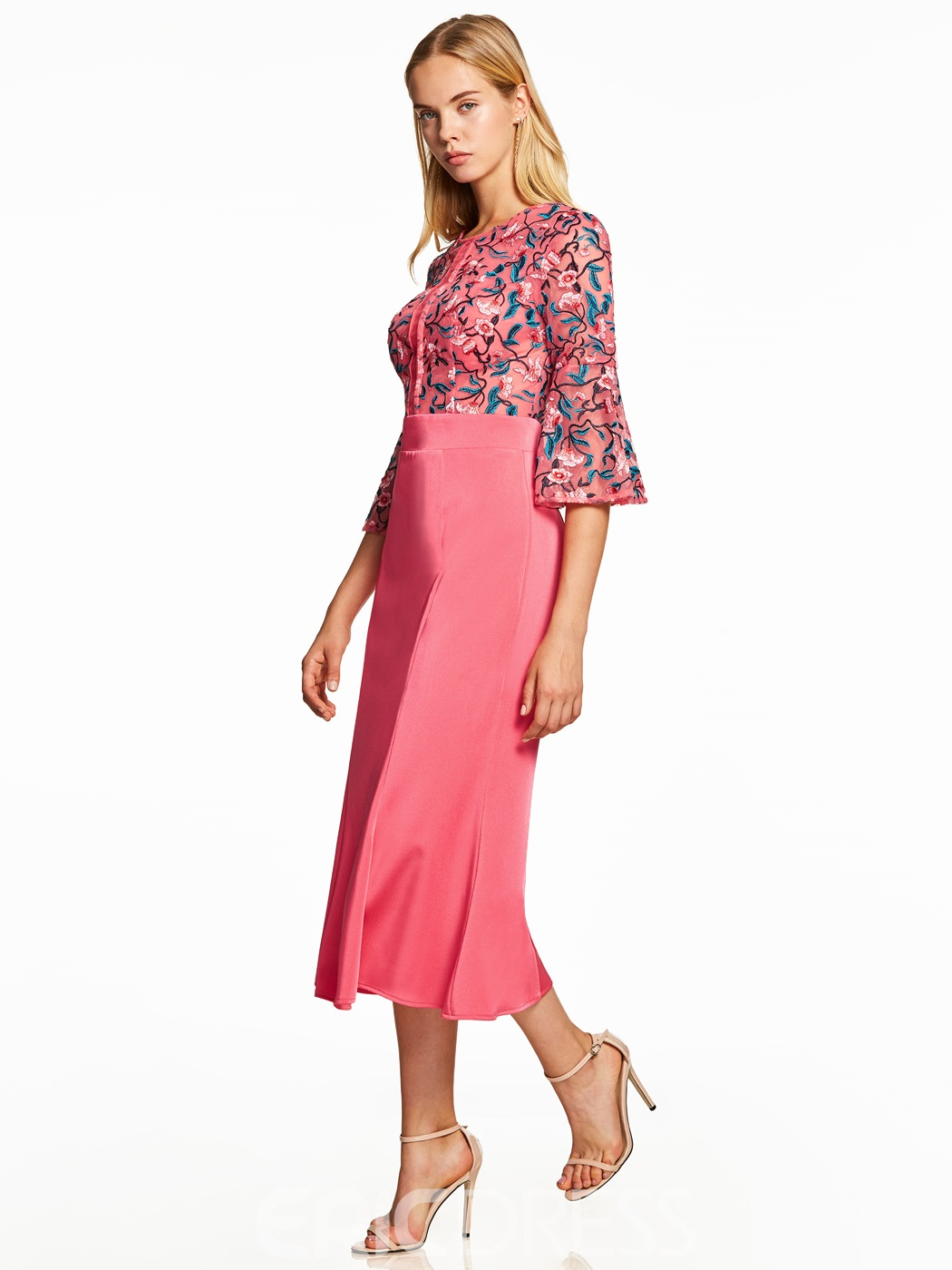 Ericdress Scoop Neck Half Sleeves Embroidery A Line Evening Dress