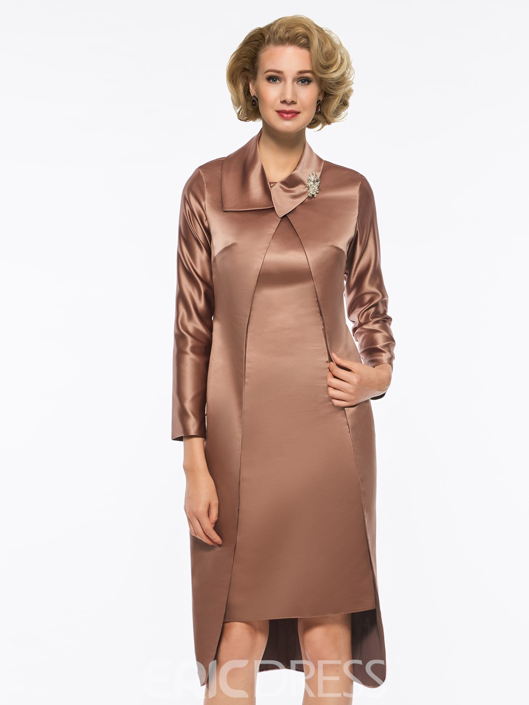 Ericdress Straps Knee-Length Mother of the Bride Dress with Long Sleeves Jacket