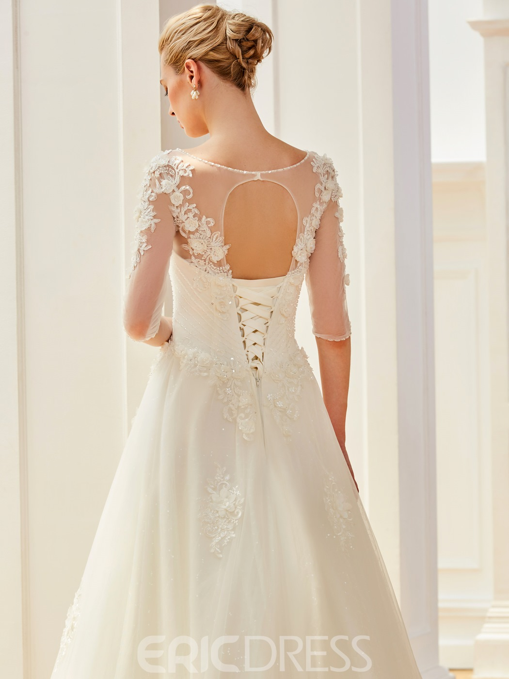 Ericdress Scoop Half Sleeves Appliques Beaded Ball Gown Wedding Dress