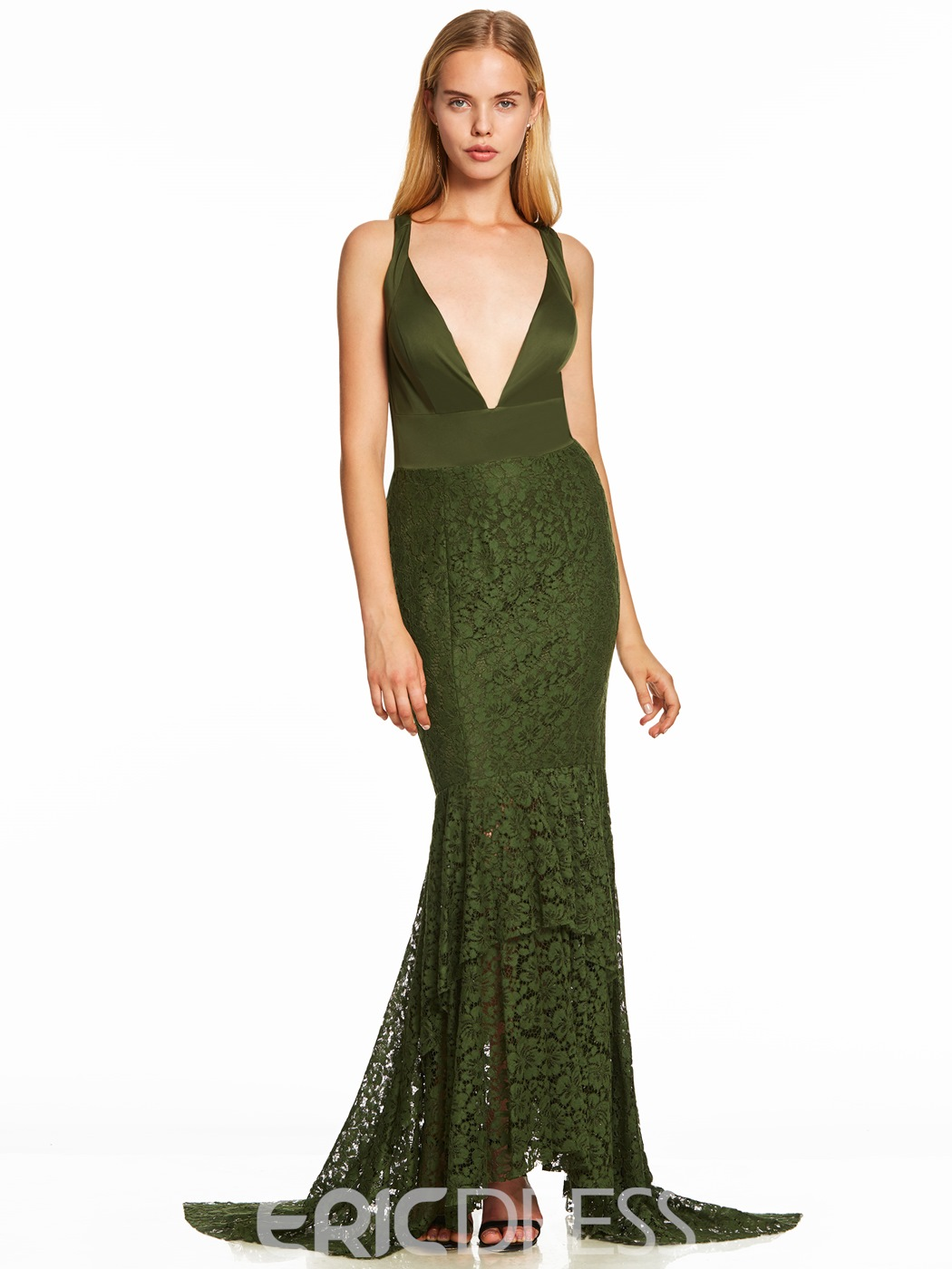Ericdress V Neck Criss-Cross Straps Lace Mermaid Evening Dress