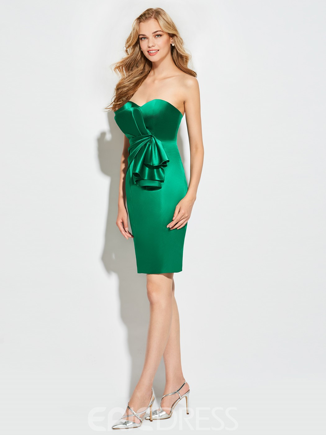 Ericdress Sheath Strapless Ruffles Short Cocktail Dress