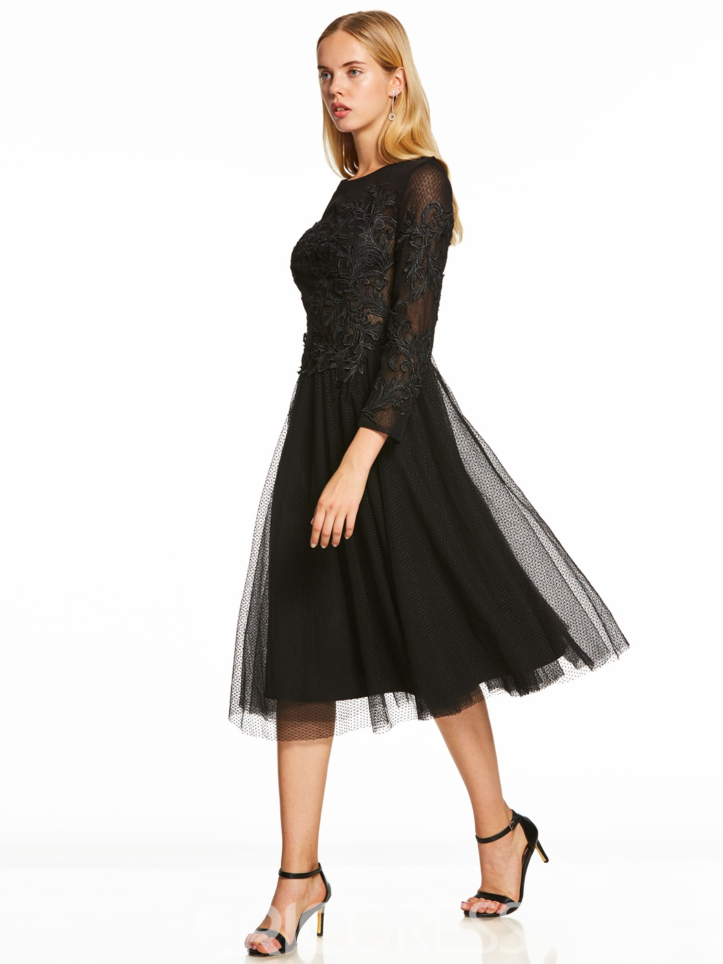 Ericdress Scoop Neck Long Sleeves A Line Cocktail Dress 13085586 ...