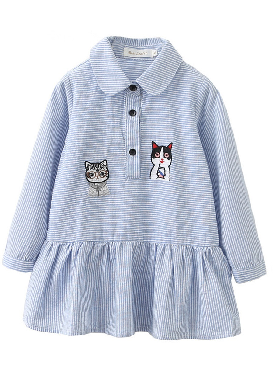 Ericdress Cartoon Cat Print Stripe Shirt Collar A-Line Girl's Dress
