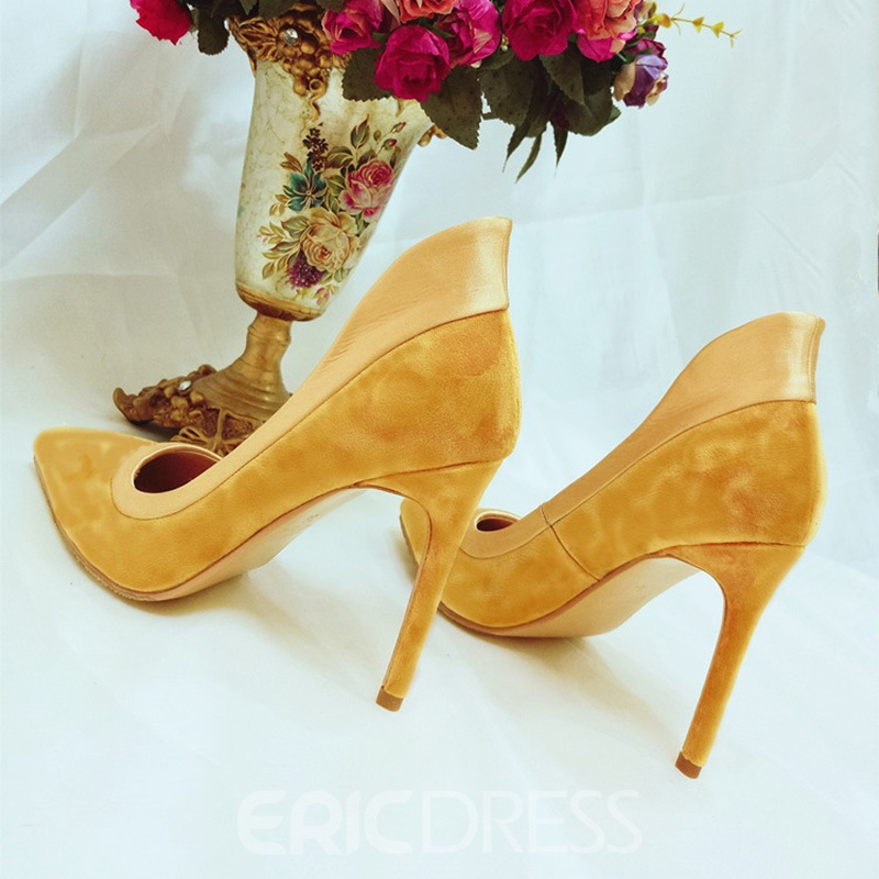 Ericdress Suede Slip-On Patchwork Stiletto Heel Pumps
