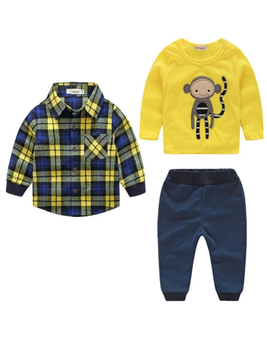 Ericdress Plaid Shirt Print T Shirt Pants Baby Boy's Oufits