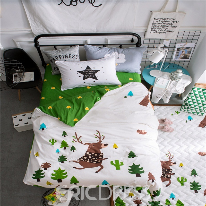 Vivilinen Deer Printed Cotton 3-Piece White Duvet Covers/Bedding Sets