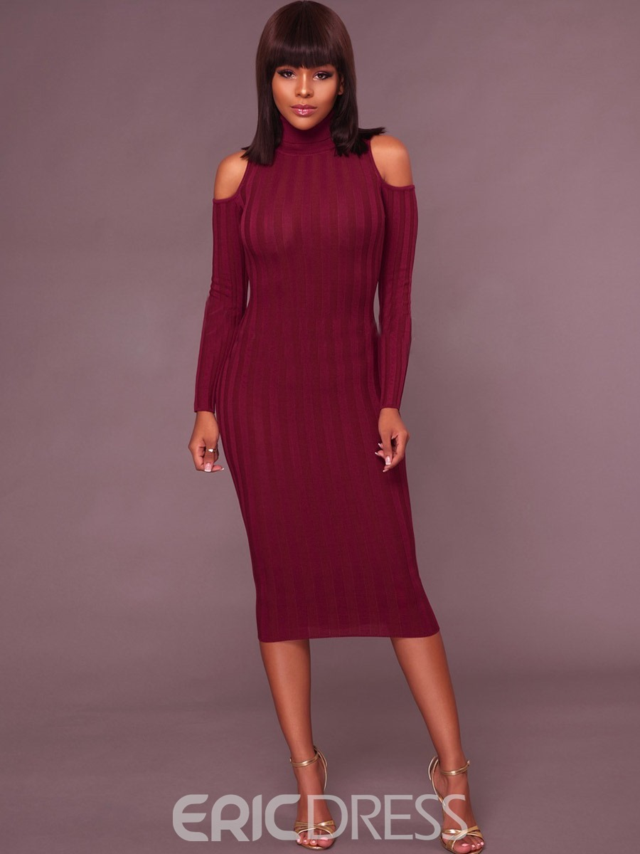 36969d9e6e Ericdress High Neck Cold Shoulder Long Sleeves Plain Sweater Dress(13016825)