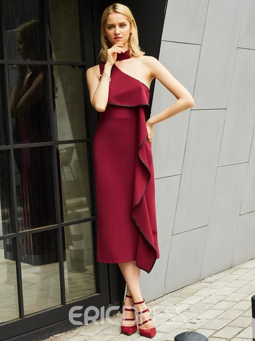 Ericdress Oblique Colla Ruffle Asymmetric Maxi Dress