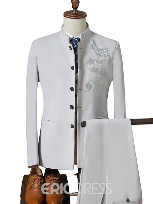 Ericdress Plain Embroidery Three Pieces Slim Men's Suit