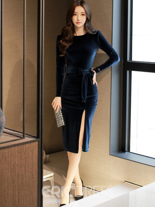 Ericdress Velvet Bowknot Lace-Up Long Sleeves Split Bodycon Dress