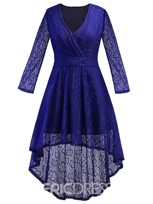 Ericdress V-Neck Swallowtail High-Low Lace A Line Dress