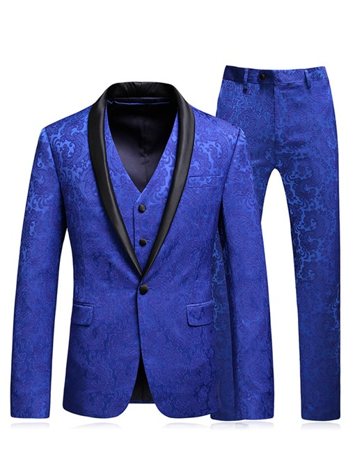 Ericdress Three-Piece of Vogue Classic Jacquard Lapel Slim Men's Suit