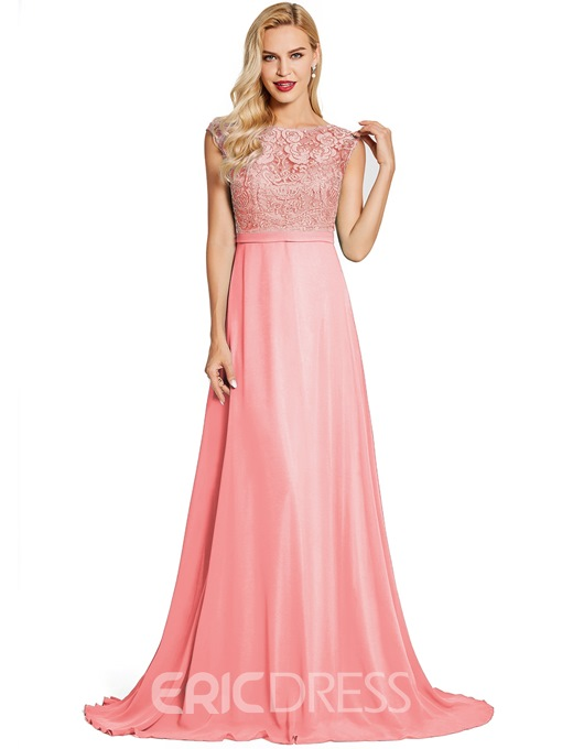 Ericdress Bateau Neck Zipper-Up A Line Evening Dress
