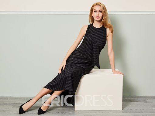 Ericdress Mermaid Mid-Calf Ruffle Stripe Maxi Dress