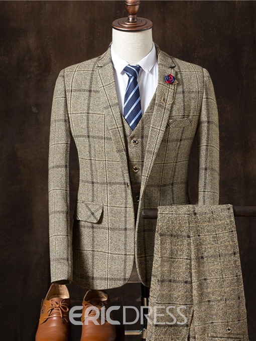 Ericdress Plaid Three Pieces Plaid Vogue Slim Men's Suit