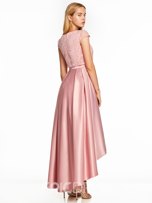 Ericdress Scoop Neck Cap Sleeves Asymmetry Prom Dress