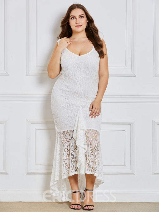 Ericdress Plus Size Sleeveless V-Neck Ankle-Length Zipper Mermaid Dress