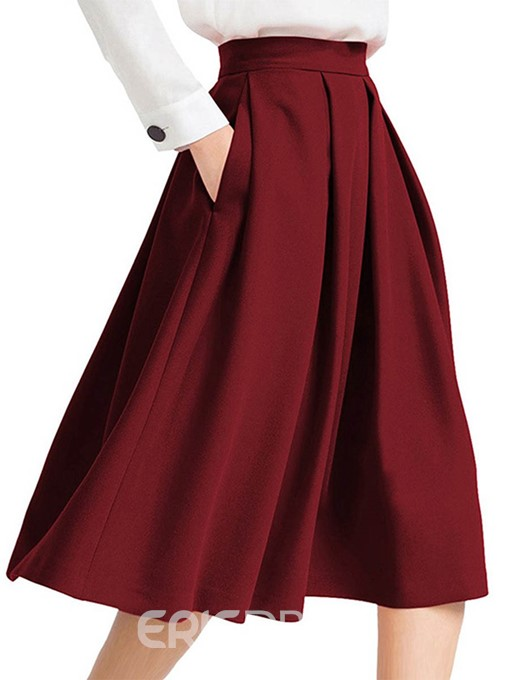 Ericdress Plain Pleated Women's Skirt