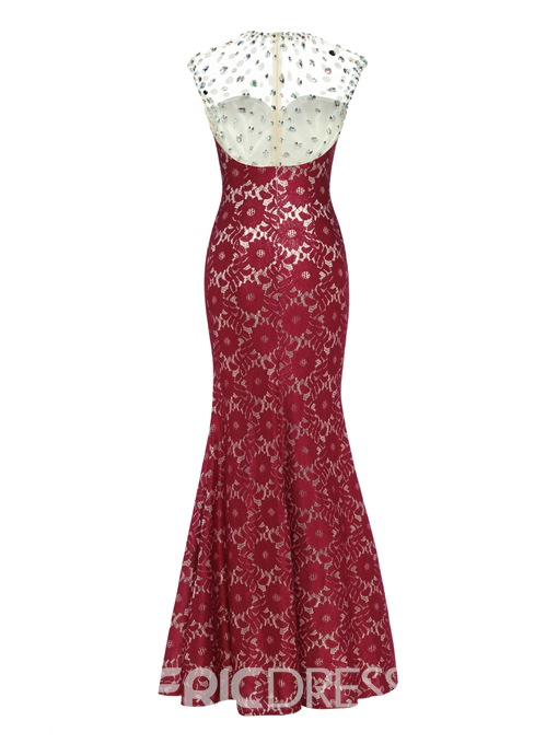 Ericdress Scoop Neck Zipper-Up Beaded Lace Sheath Evening Dress