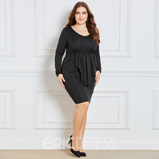 Ericdress V-Neck Plus Ruffle Long Sleeve Bodycon Dress