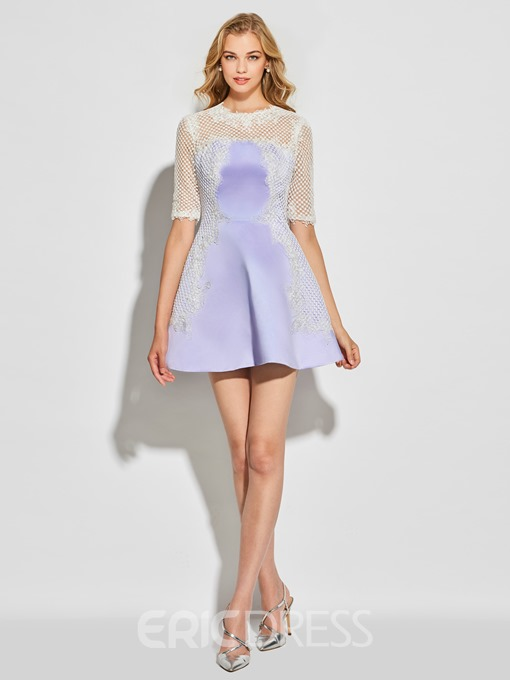 Ericdress A Line Short Half Sleeve Lace Short Cocktail Dress