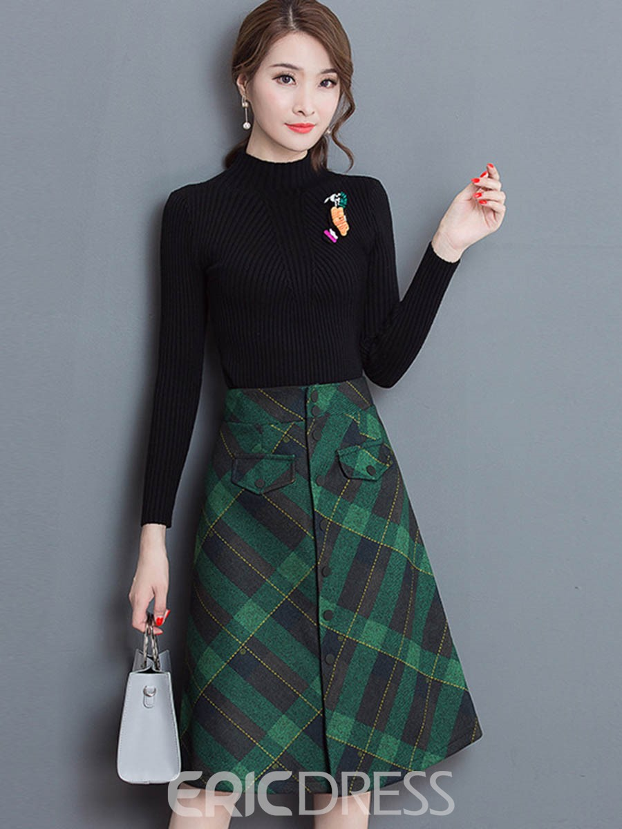 Ericdress High Neck Sweater and Plaid Skirt Women\'s Suit 13020704 ...