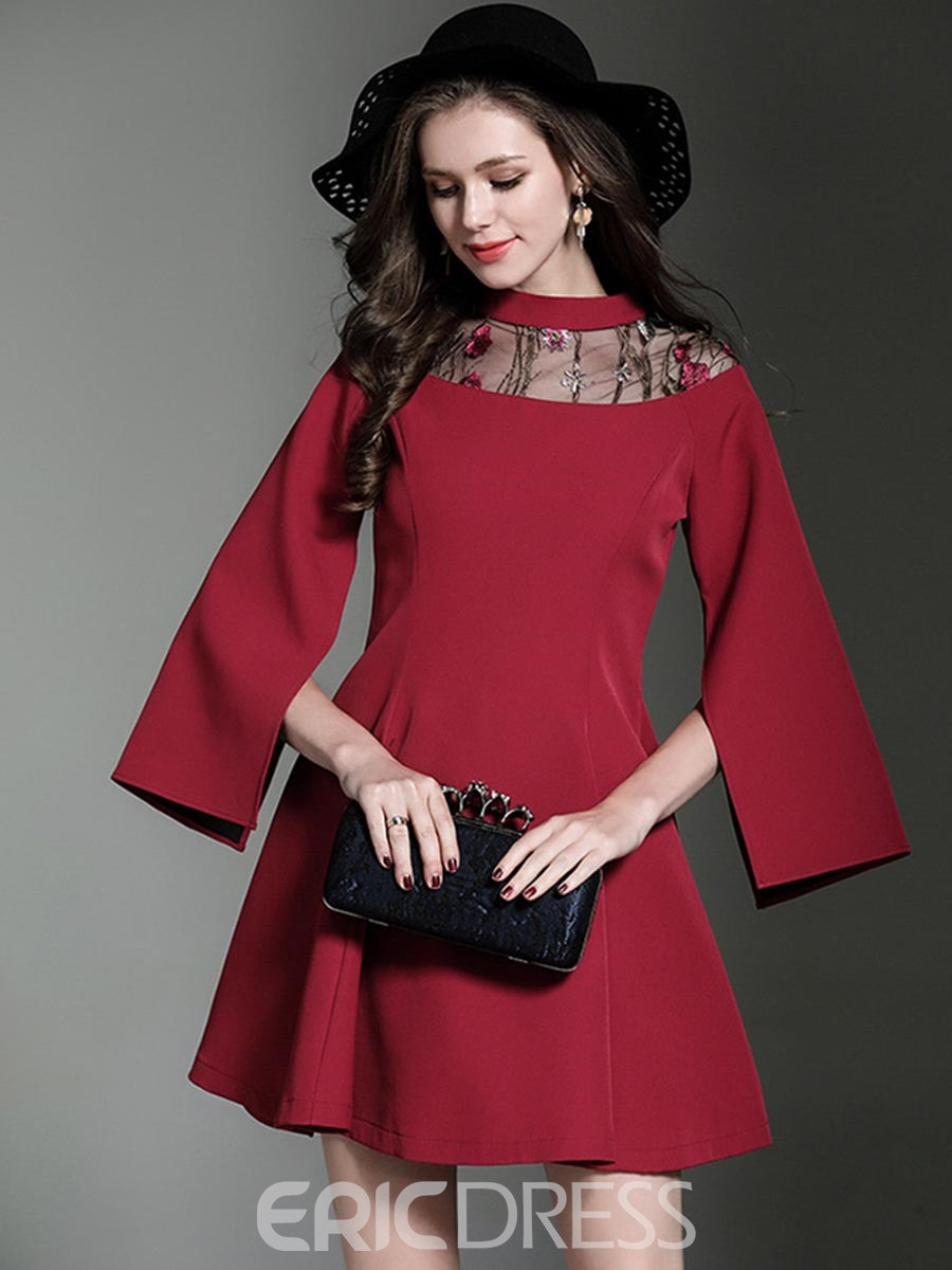 Ericdress Mesh Patchwork Nine Points Sleeves A Line Dress