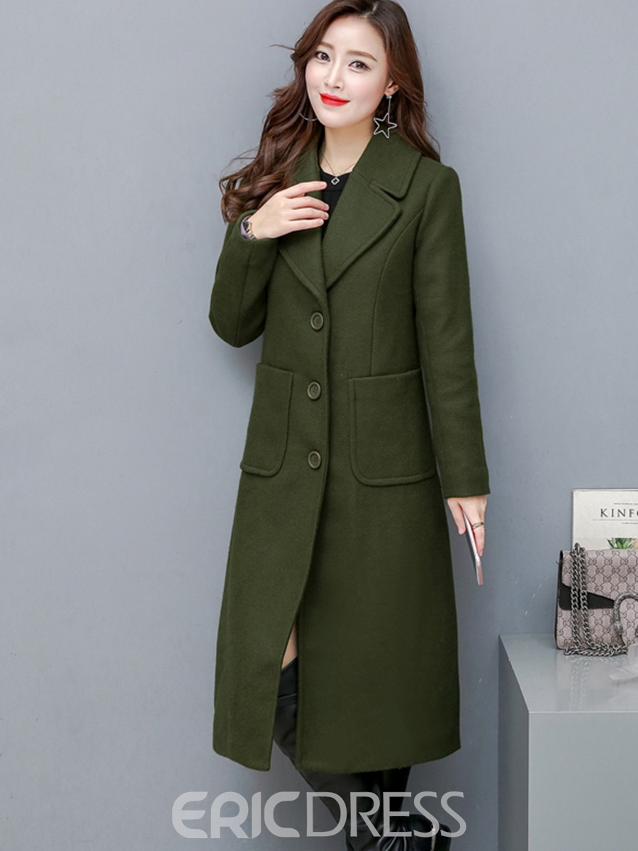 Ericdress Notched Lapel Plain Single-Breasted Coat