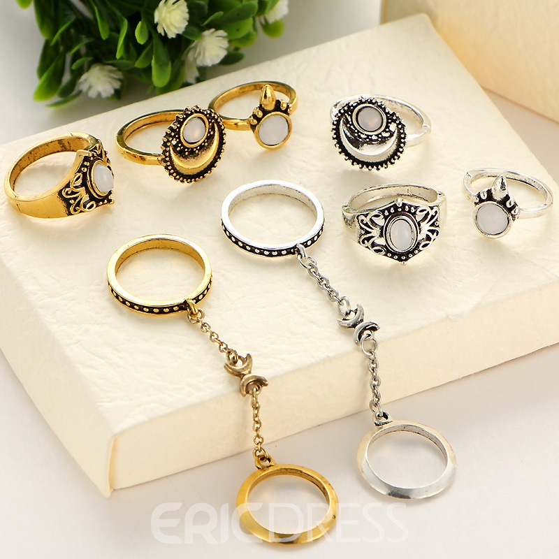 Ericdress Creative Vintage 5-Piece Women's Ring Set