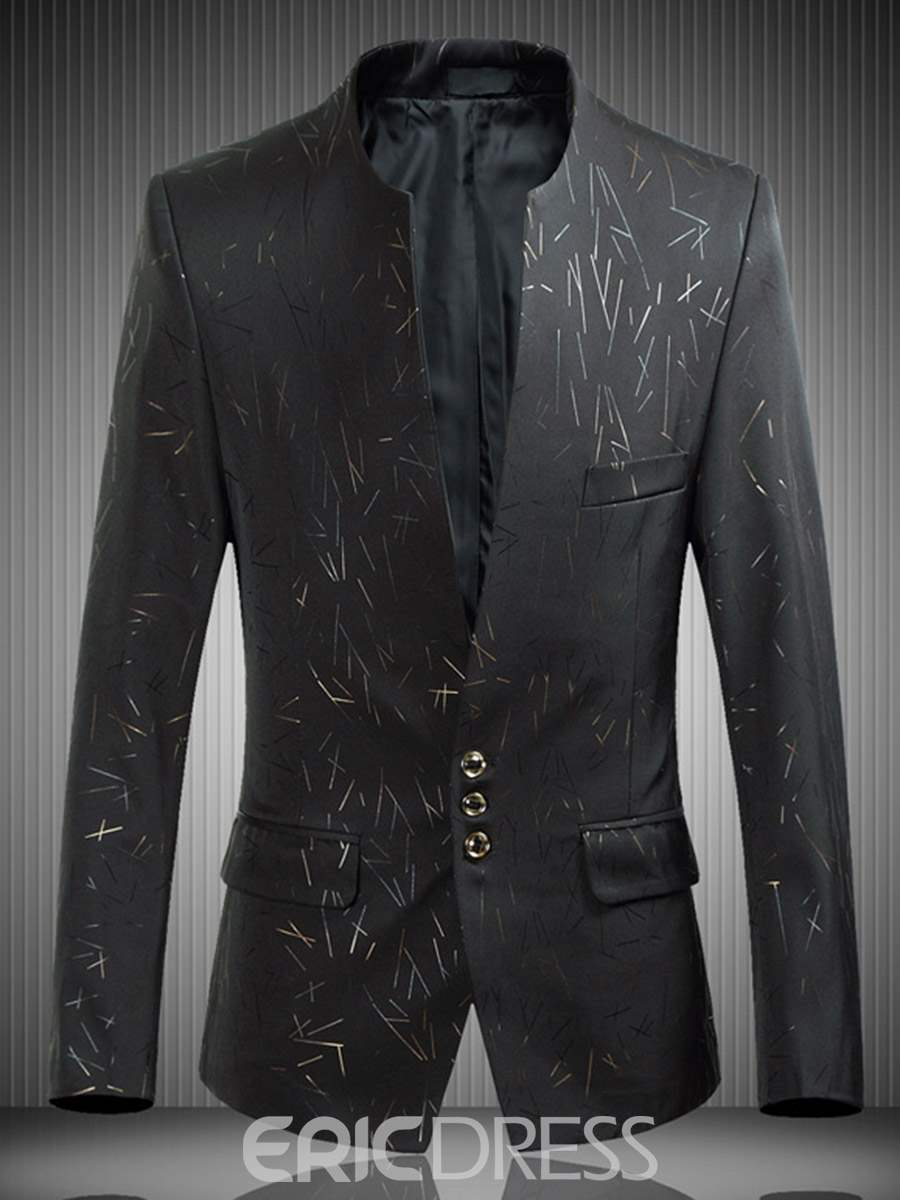 Ericdress Plain Print Single-Breasted Vogue Slim Men's Jacket