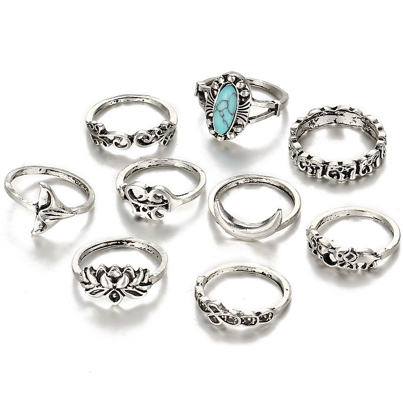 Ericdress 9-Piece Vintage Ring for Women