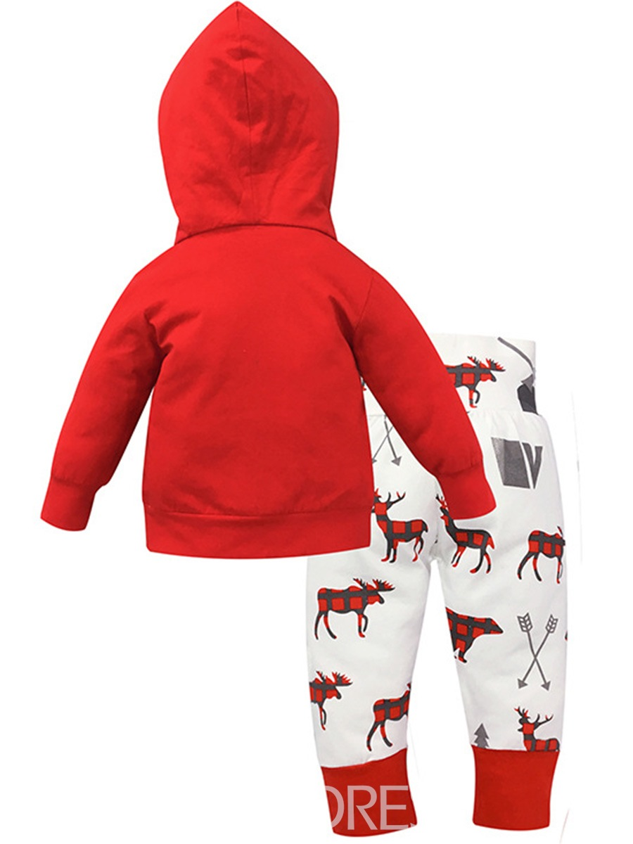 Ericdress Christmas Deer Print Hooded Pullover Unisex Baby's 2-Pcs Outfits