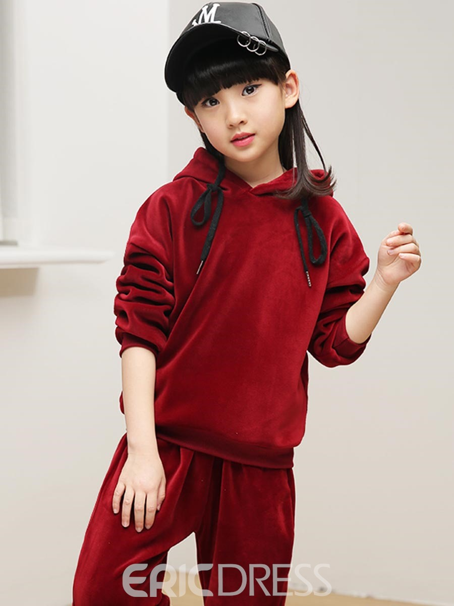 Ericdress Plain Hooded Pullover Long Sleeve & Pants Girl's Winter Outfit
