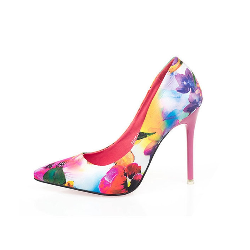 Ericdress Floral Print Pointed Toe Stiletto Heel Pumps