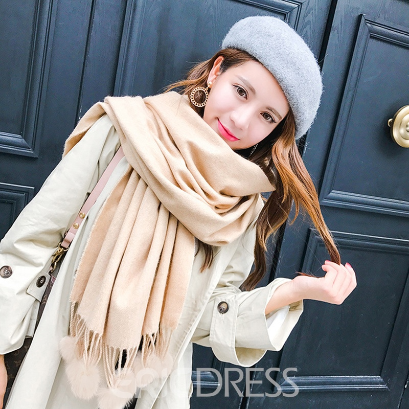 Ericdress Stylish Cashmere-Like Thicken Long Tassel Scarf for Women