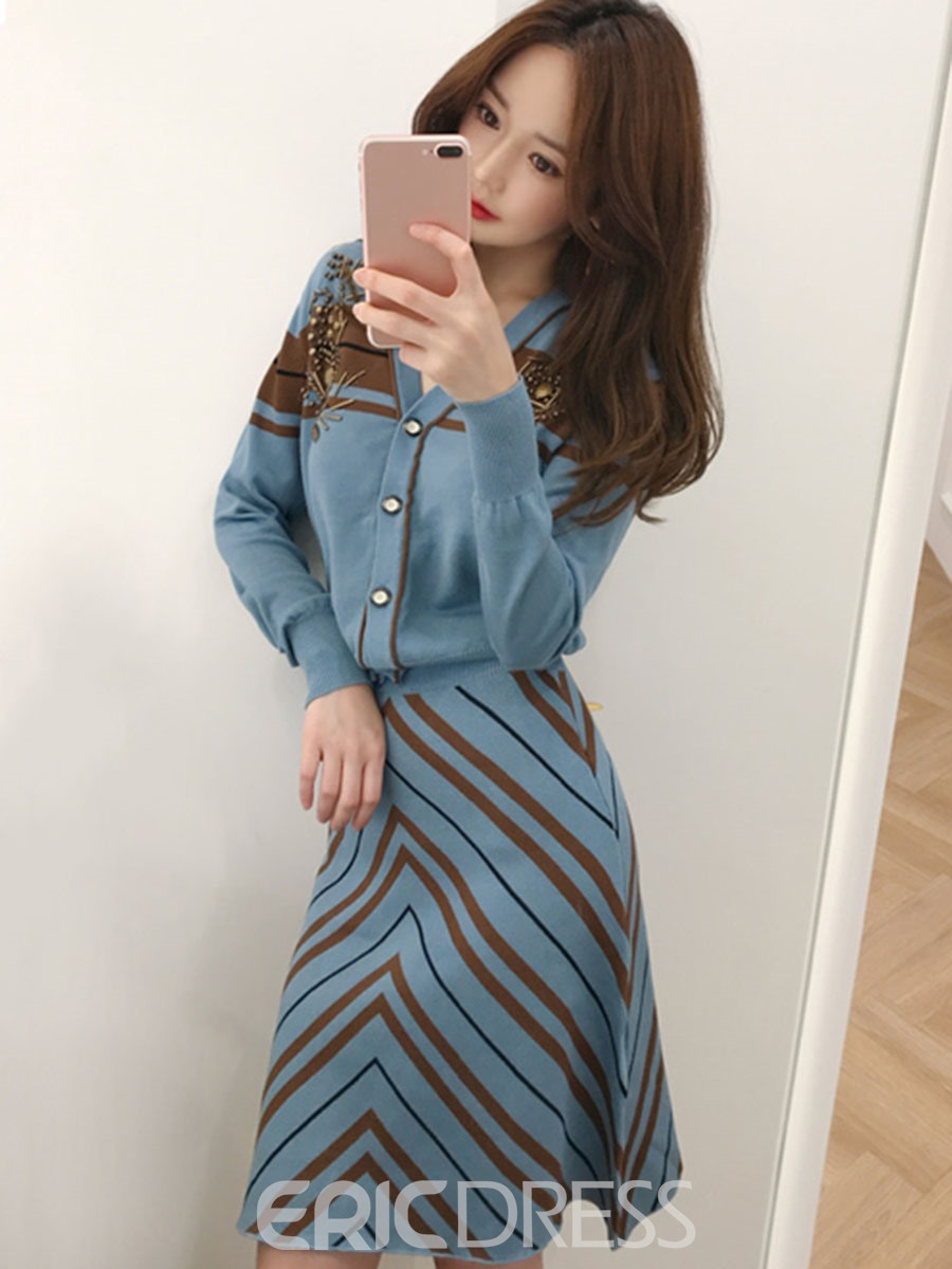 Ericdress Beading Sweater and Stripe Skirt Women's Knit Two Piece Set