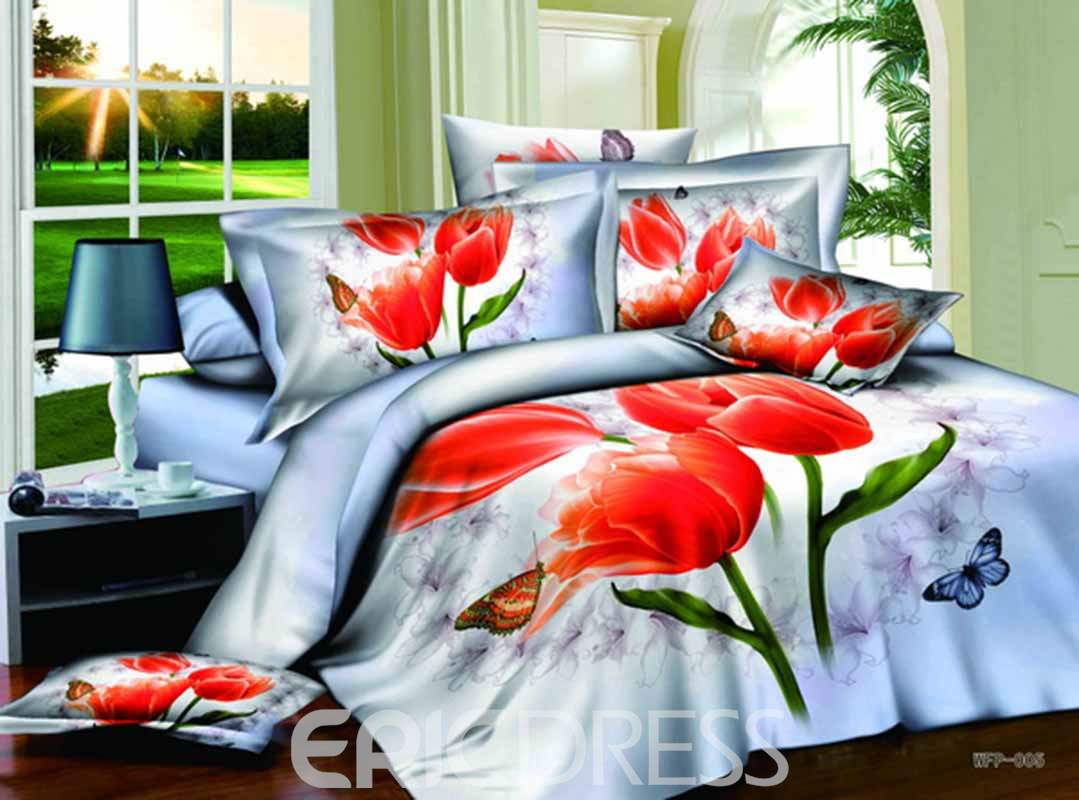 Red Tulips and Fluttering Butterfly Printed Cotton 3D 4-Piece Bedding Sets/Duvet Covers
