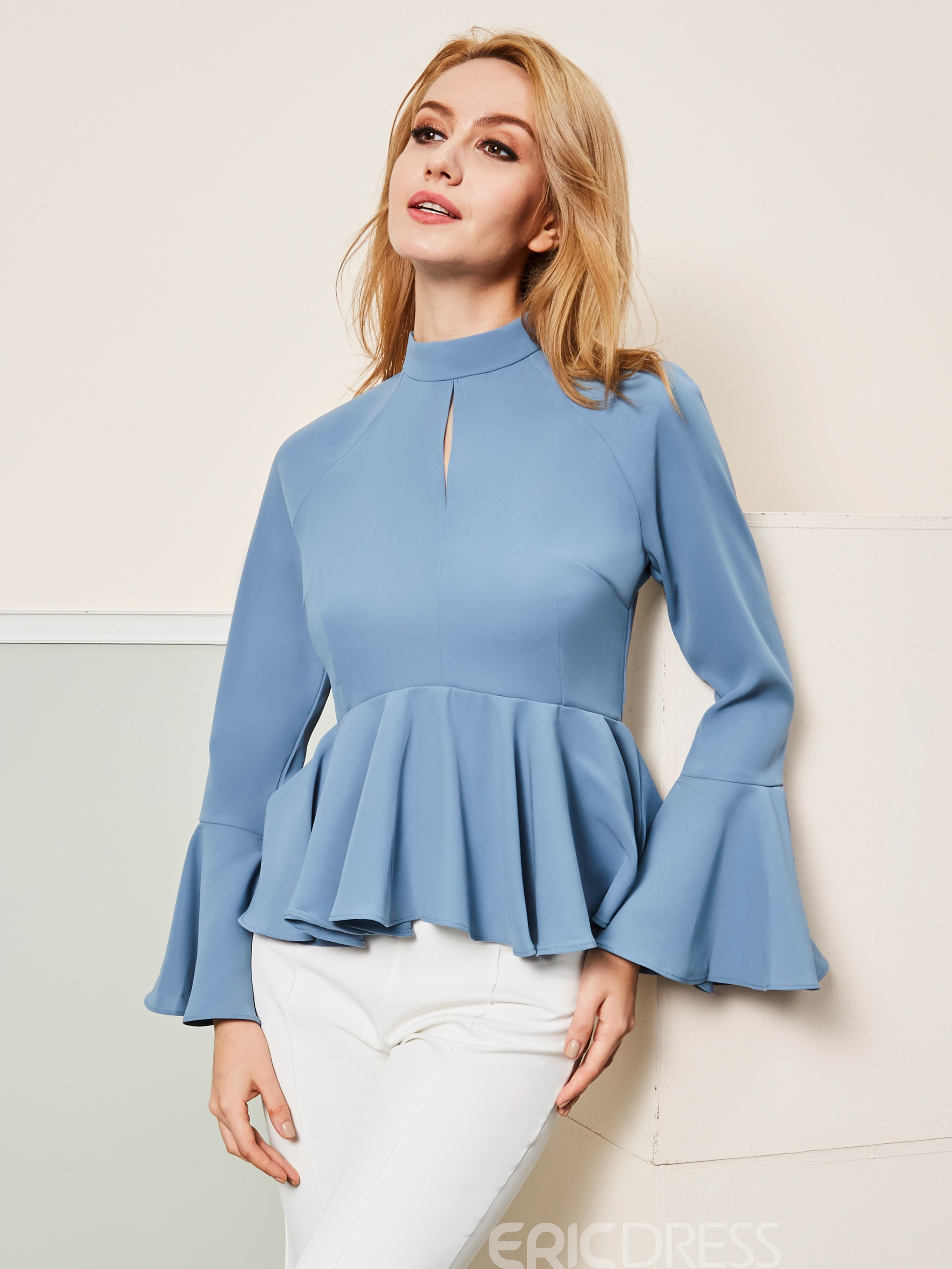 Ericdress Stand Collar Plain Ruffles Blouse