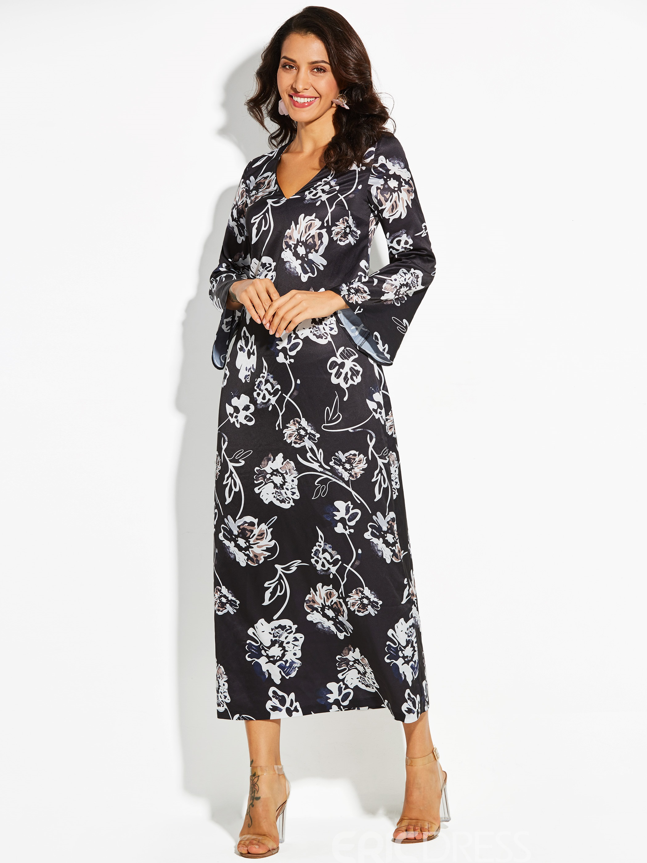 Ericdress V-Neck Floral Print Flare Sleeve Day Dress