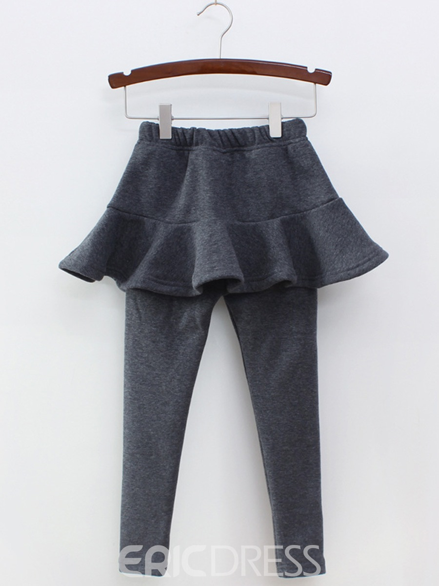 Ericdress Plain Thick Warm Double-Layer Girl's Culotte